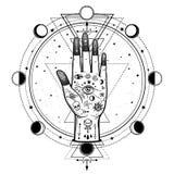 Dibujo misterioso: mano divina, ojo de la providencia, geometría sagrada, fases de la luna libre illustration