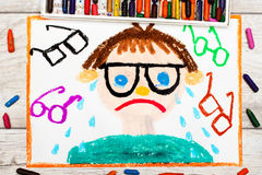 dibujo: Muchacho triste y gritador con sus hierbas Defecto de la visión Imagen de archivo libre de regalías