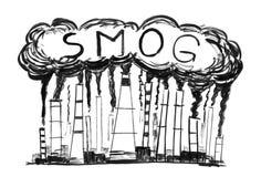 Dibujo negro de chimeneas que fuman, concepto de la mano del Grunge de la tinta de contaminación atmosférica o de niebla con humo foto de archivo libre de regalías