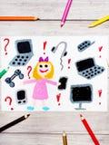Dibujo: niña sonriente rodeada por los dispositivos electrónicos foto de archivo libre de regalías