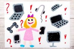 dibujo: niña sonriente rodeada por los dispositivos electrónicos, los teléfonos, los ordenadores y las tabletas Fotografía de archivo libre de regalías