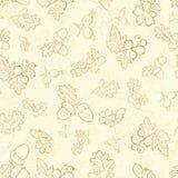 Dibujo Nuts de las bayas beige del vintage del vector inconsútil Fotos de archivo