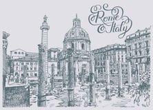 Dibujo original de la mano del bosquejo del paisaje urbano famoso de Roma Italia con libre illustration