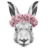 Dibujo original del conejo con las rosas ilustración del vector