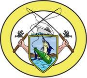 Dibujo oval del escudo de armas de la botella de Rod Reel Blue Marlin Beer de la pesca stock de ilustración