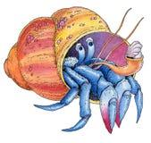 Dibujo pintado acuarela de la mano del cangrejo de ermitaño Foto de archivo