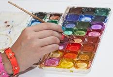 Dibujo por las pinturas del color de agua Fotos de archivo