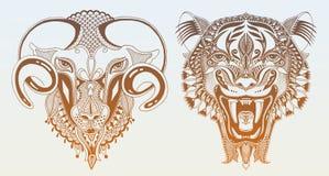 Dibujo principal original del tigre con la ca?da abierta libre illustration