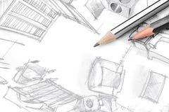 Dibujo a pulso de la sala de estar moderna con las herramientas de dibujo, visión superior Foto de archivo