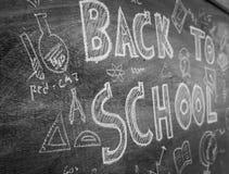 Dibujo a pulso de nuevo a escuela en la pizarra, RRPP filtradas de la imagen Imagenes de archivo