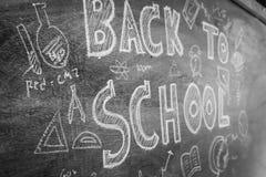 Dibujo a pulso de nuevo a escuela en la pizarra, RRPP filtradas de la imagen Imagen de archivo
