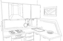 Dibujo a pulso interior de la pequeña cocina de la esquina Fotos de archivo libres de regalías
