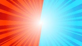Dibujo retro azul cómico del kitsch del ejemplo del vector del arte pop del fondo de los rayos del sol Fondo cómico CONTRA libre illustration