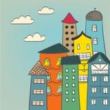 Dibujo retro de las casas Foto de archivo