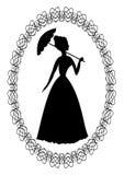 Dibujo retro del vintage con la silueta de la señora rococó con el marco oval del cordón del paraguas in fine Decoración para la  Imagen de archivo