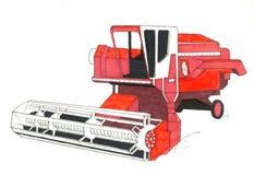Dibujo rojo de la máquina segador Fotografía de archivo