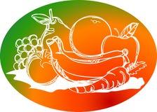 Dibujo sano del movimiento del cepillo de la pila de las frutas ilustración del vector