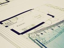 Dibujo técnico de la mirada retra imagen de archivo libre de regalías