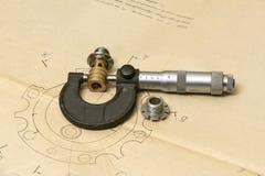Dibujo técnico y herramientas de medición Foto de archivo libre de regalías