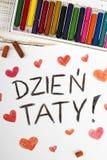 Dibujo - tarjeta feliz polaca del día de padres Fotos de archivo