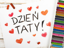 Dibujo - tarjeta feliz polaca del día de padres Foto de archivo