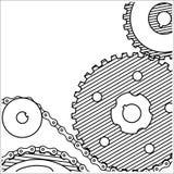Dibujo técnico Fondo de los engranajes grunge del estilo Fotos de archivo