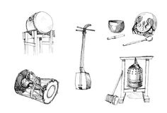 Dibujo tradicional japonés de los instrumentos Imagen de archivo libre de regalías