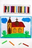 Dibujo: Una pequeña iglesia con una torre en la colina stock de ilustración