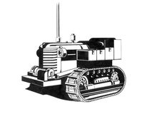Dibujo viejo del tractor Imágenes de archivo libres de regalías