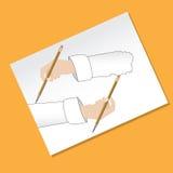 Dibujo y borradura Imagen de archivo libre de regalías