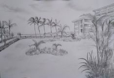 Dibujos de bosquejo del lápiz de la mano - paisajes libre illustration