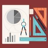 Dibujos de estudio y dibujo de un proyecto por el lápiz libre illustration