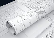 Dibujos de ingeniería de las volutas y ordenador portátil Imagenes de archivo