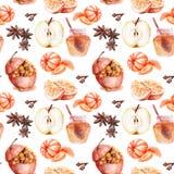 Dibujos de la acuarela en el tema de los dulces de la Navidad stock de ilustración