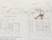 Dibujos de la arquitectura y planes de la casa Imágenes de archivo libres de regalías