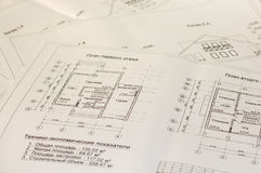 Dibujos de la arquitectura y planes de la casa Fotos de archivo libres de regalías