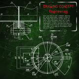 Dibujos de la ingeniería industrial en la pizarra verde Imagen de archivo