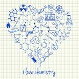 Dibujos de la química en forma del corazón stock de ilustración