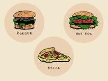 Dibujos de los alimentos de preparación rápida fijados libre illustration