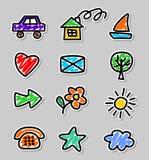 Dibujos de los niños de los iconos Imagenes de archivo