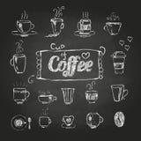 Dibujos de tiza Conjunto de tazas de café Imagen de archivo libre de regalías