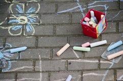 Dibujos de tiza del pavimento Imagen de archivo libre de regalías