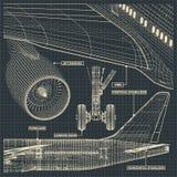 Dibujos del avión de pasajeros del jet en estilo retro foto de archivo libre de regalías