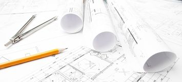 Dibujos del planeamiento de la construcción imágenes de archivo libres de regalías