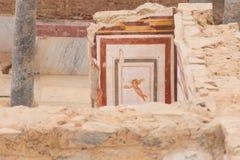 Dibujos en las casas de la terraza, ciudad antigua de Ephesus Imagen de archivo libre de regalías