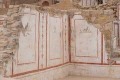 Dibujos en las casas de la terraza, ciudad antigua de Ephesus Foto de archivo libre de regalías