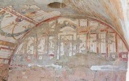 Dibujos en las casas de la terraza, ciudad antigua de Ephesus Fotografía de archivo libre de regalías