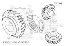 dibujos en un fondo blanco, ruedas del Máquina-edificio Foto de archivo