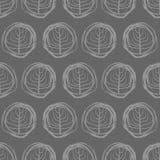 Dibujos inconsútiles decorativos del modelo de círculos Árboles grises en a Imagenes de archivo