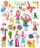 Los dibujos de los niños Fotografía de archivo